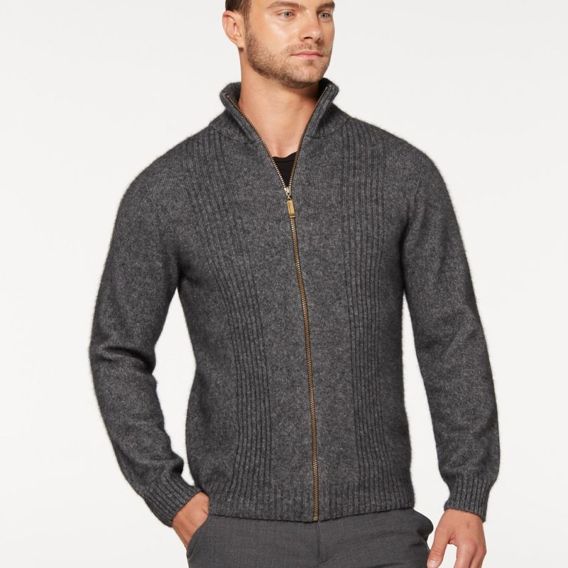 Possum Merino Rib Front Jacket - Pewter at Ecwool